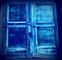 a blue cross door