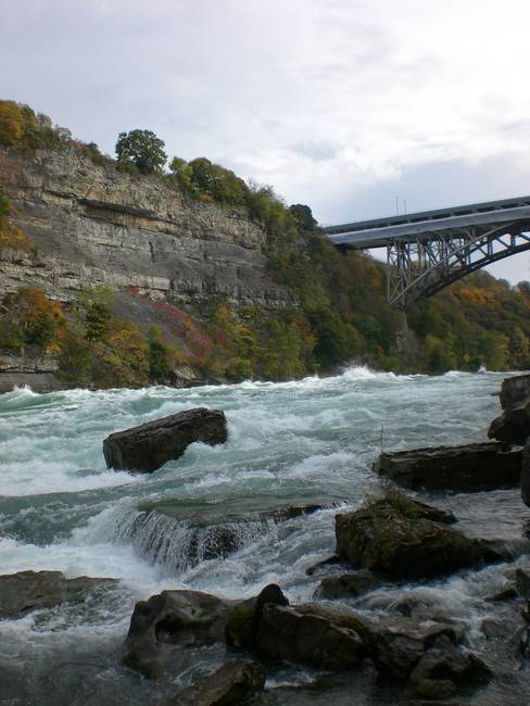 Niagara Whirlpool rapids with Whirlpool Bridge 2