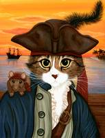 Captain Leo ; Pirate Cat Rat Sunset