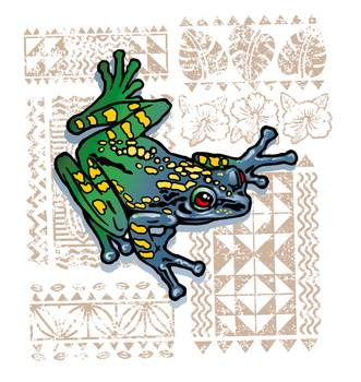 TAPA TREE FROG by artist Mark Lee. Giclee prints, art prints, animal art, frog art, colorful frog; from an original digital drawing and digital illustration