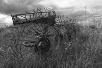 Old Farm Machinery in an English Field (Black and