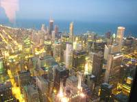 Chicago Downtown in night from Sears Towers