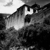 drepung vertical b&w Art Prints & Posters by Tiffany Lemaire