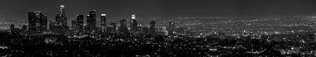 Los Angeles Skyline, Black & White Panorama