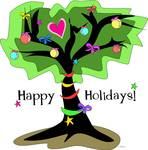 Happy Holidays Christmas Tree with Loving Heart