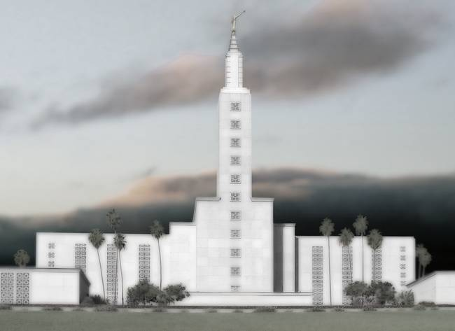Los Angeles Temple Large-16x22-tinted