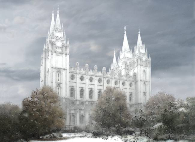Salt Lake Temple - winter Large-16x22-tinted