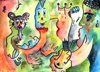 Characters # 8 Watercolor & Ink By Ginette Callawa