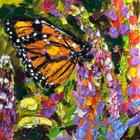 Monarch Butterfly On Lupines Original Oil Painting