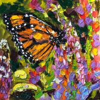 Monarch Butterfly On Lupines Original Oil Painting Art Prints & Posters by Ginette Callaway