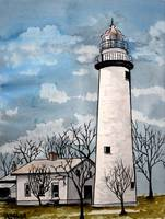 pointe aux Barques Lighthouse painting