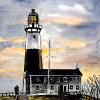 montauk point lighthouse painting new york art Art Prints & Posters by Derek McCrea