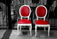 Red and White Chairs
