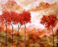 Burning Promise Skinny Red Autumn Trees Landscape