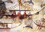 Minoan Minature Frieze Fresco Ship Closeup Posters