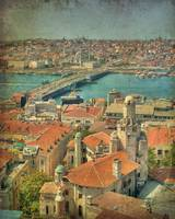 View over Istanbul - faux vintage