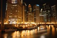 Wacker Drive and Chicago river at night