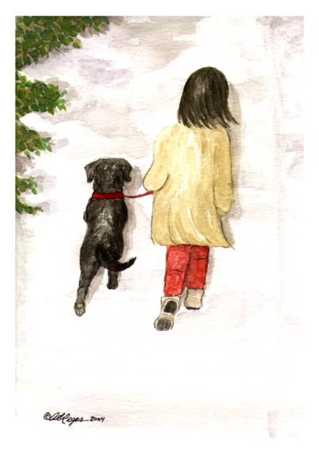 Together - Black Labrador and woman painting