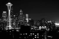 Seattle Skyline @ night (B&W)