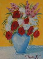 Poppies In Blue Vase
