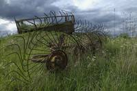 Old Farm Machinery in an English Field