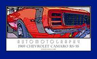 1969 Camaro RS SS Poster Blue Border