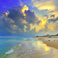 """Yellow Blue Seascape Sunset Florida Beach Fine Art"" by eszra"