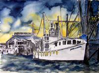 tybee island boat georgia watercolor painting