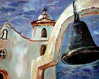 Spanish Mission Bell Oil Painting by Ginette Calla