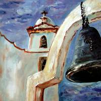 Spanish Mission Bell Oil Painting by Ginette Art Prints & Posters by Ginette Callaway