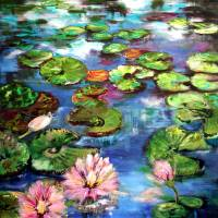 """""""Lily Pond Reflections Original Painting by Ginette"""" by GinetteCallaway"""