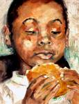 Young Boy Eating A Vegan Burger Oil Painting by Gi Posters