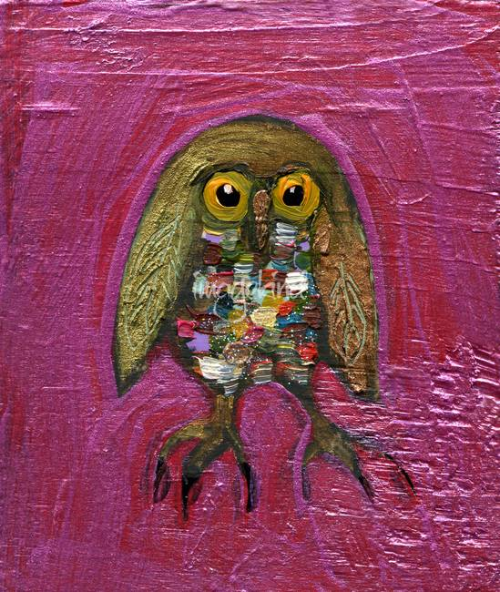 Owl in Metallic Hot Pink
