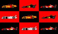 9 Racing Cars - 2 Audi R8, 3 Ferrari F1, 2 Lotus 7