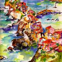 Vernazza Italy Cinque Terre Watercolor Art Prints & Posters by Ginette Callaway