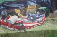AMERICAN FLAG STILL LIFE OIL PAINTING