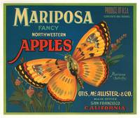 Mariposa Apples Butterfly Fruit Crate Label
