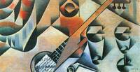 Banjo (guitar) and glasses by Juan Gris