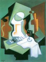 Bottle and fruit bowl [1] by Juan Gris