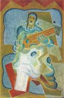 Pierrot, playing guitar by Juan Gris