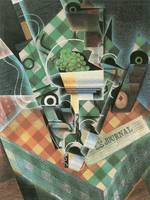 Still Life with checked tablecloth by Juan Gris