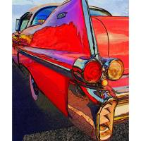 """1957 Cadillac Coupe Deville Red Fin Driver Side"" by Automotography"