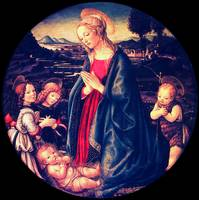 Virgin adoring the child, surrounded by St. John t