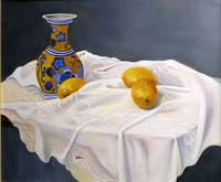 Lemons with Blue and Yellow Vase