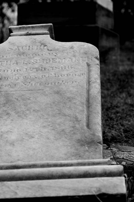 Fallen Headstone in Black and White