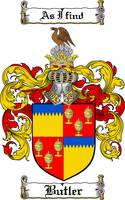 BUTLER FAMILY CREST -  BUTLER COAT OF ARMS
