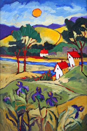 Valley of Iris by artist elaine lanoue. Giclee prints, art prints, a landscape, colorful contemporary art; from an original acrylic painting