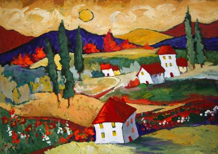 Golden Skies by artist elaine lanoue. Giclee prints, art prints, a landscape, colorful contemporary art; from an original acrylic painting