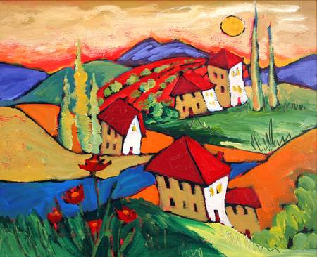 Hilltop Houses by artist elaine lanoue. Giclee prints, art prints, a landscape, colorful contemporary art; from an original acrylic painting