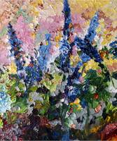 Blue Delphiniums Oil Painting By Ginette Callaway